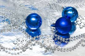 blue balls with silver tree stock photo picture and