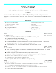 Resume Of Nanny Nanny Resume