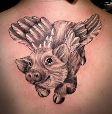 cute pig with wings tattoo design for upper back jpg 561 575