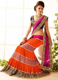 Mumtaz Style Saree Draping Ideal Orange U0026 Magenta Net Faux Georgette Lehenga Style Saree