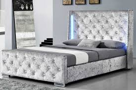 silver bed dorchester led winged headboard crushed velvet diamante studded