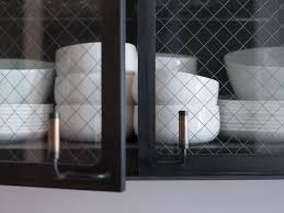 Black Metal Kitchen Cabinets with Chicken Wire and Glass Doors