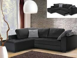 vente unique canapé canapé angle gauche convertible audace cuir supérieur noir canapé