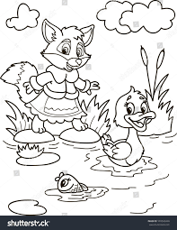 coloring page outline cartoon fox fish stock vector 593563469