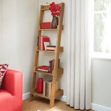a fancy wood ladder shelf for living room together with a flower