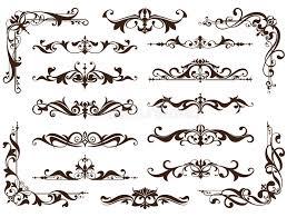 vintage ornaments design elements floral curlicues white
