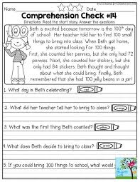 1st grade reading comprehension worksheets fts e info