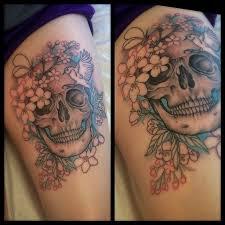 flower skull on arm binge thinking