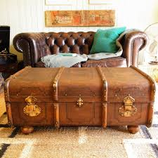 vintage steamer trunk chest banded railway luggage suitcase coffee