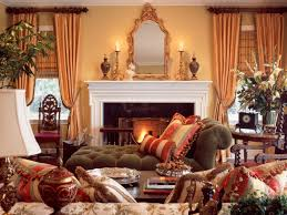 luxurious tuscan living room interior design with an ornate mirror