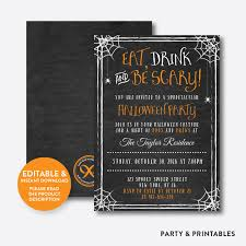 eat drink and be scary halloween invitation editable instant