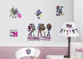 monster high bedroom decorating ideas roommates monster high peel stick wall decals home home decor