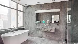 grey bathroom ideas alcove bathtub doubled shower area oval white