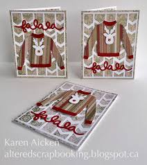 altered scrapbooking sweater card trio