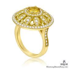 sunflower engagement ring brilliant yellow sapphire and sunflower motif gemstone