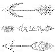 bohemian dream arrows set with feathers for coloring pages
