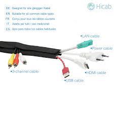 Schreibtisch 2m Lang Hicab Kabelschlauch Mit Klettverschluss Zuschneidbar Kabelkanal