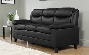 Metro Small Black Leather  Seater Sofa Only  Furniture - Leather 3 seat sofa