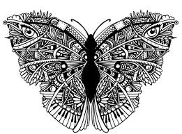 black and white ornamented butterfly with eyes and piano keys