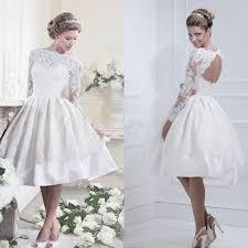 knee length high neck satin short lace wedding dress with keyhole