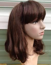 brown curly wavy fringe shoulder length hair wig fancy dress