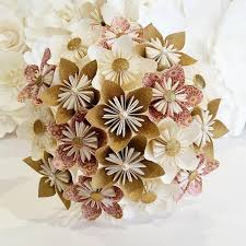 Gold Flowers Paper Flowers Bouquet Origami Bridal Stationary Uk Dusky Pale