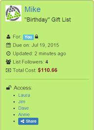 gift list smart gift list