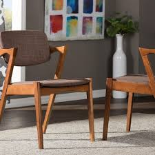 Upholstered Dining Chair Set Baxton Studio Brown Fabric Upholstered Dining Chairs Set