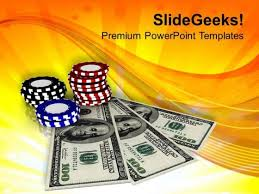casino chips and money game theme powerpoint templates ppt