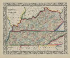 County Map Of Tennessee by 1865 Mitchell