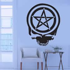 skull wall stickers promocja sklep dla promocyjnych skull wall fajne graficzne pentagram pentagram wiccan pagan mier czaszka naklejka cienna pokoju mural vinyl kalkomania art home office d