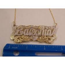 Double Plated Name Necklace Nikfine 14k Gp 3 Inch Double Any Name Plate Necklace Personalized