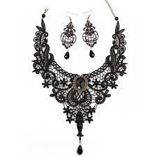 meiysh black lace gothic pendant choker necklace earrings
