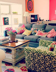 I Love All The Bright Mixedmatched Fabrics Thinking Of Doing - Colorful living room sets