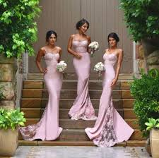 spaghetti straps lace satin bridesmaid dresses skirt train lace