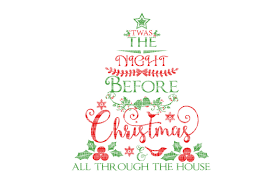twas the night before christmas tree svg files for silhouette