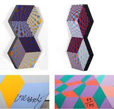victor vasarely kettes painted wood sculpture