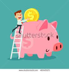 his and piggy bank happy businessman holding idea bulbs balloons stock vector