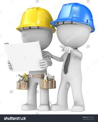 building project planning dude builder contractor stock