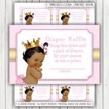 ethnic princess diaper raffle ticket african american princess