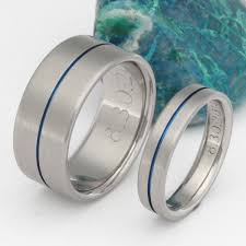 blue titanium wedding band blue titanium ring set stb34 titanium rings studio