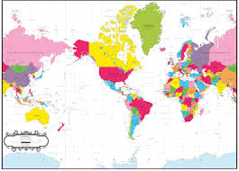Picture Of A World Map by World Map Bright Colors