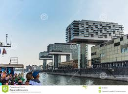 view of modern buildings on the waterfront cologne editorial