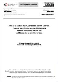 tax compliance certificate from itax u2013 kenya manual