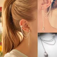 cool dangle earrings 2pcs women fashion cool jewellery leaf chain tassel dangle ear