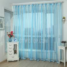 Blue Sheer Curtain Classic Jacquard Floral And Stripe Blue Sheer Curtain