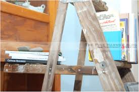 wooden ladder bookshelf diy barn wood ladder shelves rustic wooden