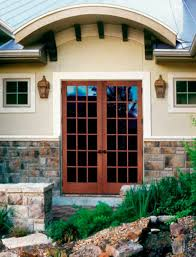 Beige Walls White Trim by Exterior Design White Wooden Therma Tru Doors With Golden Handle