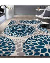 Blue Modern Rug Check Out These Bargains On Osti Modern Floral Design Blue Area