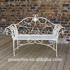 White Metal Outdoor Bench Wrought Iron Metal Garden Bench Antique Cream With A Brushed